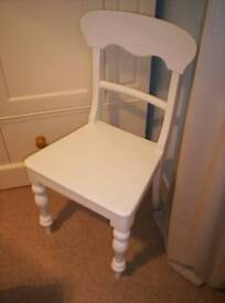 ANTIQUE VICTORIAN, WHITE PAINTED PINE CHAIR, WITH HAND TURNED LEGS