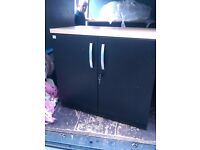 Black metal office cabinets with one adjustable shelf and Beech effect top