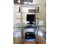 Desk - glass and chrome tall desk, lovely condition from Soho Dallas range
