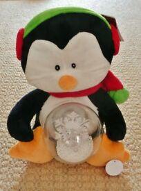 Animated Soft Plush Penguin Christmas Ornament Decoration Snowflake Spinner Gift Idea