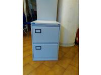 2 Drawer Grey Metal Filing Cabinet