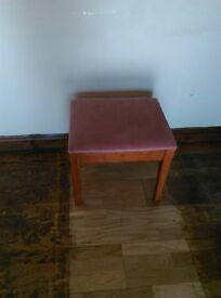 Padded pink velour stool