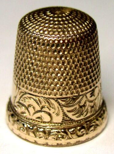 Antique Waite Thresher Gold Thimble  Chased Scrolling Acanthus Leaf Design