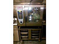 6 grid Rational commercial combi oven and steamer c/w table and trays