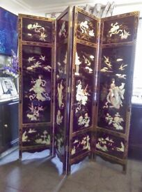 Chinese 4 panel mother of pearl screen