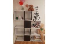 Bookshelf bookcase zigzag black and white wood