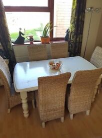 Cottage Style Painted White Table Along With 6 Wicker Chairs!