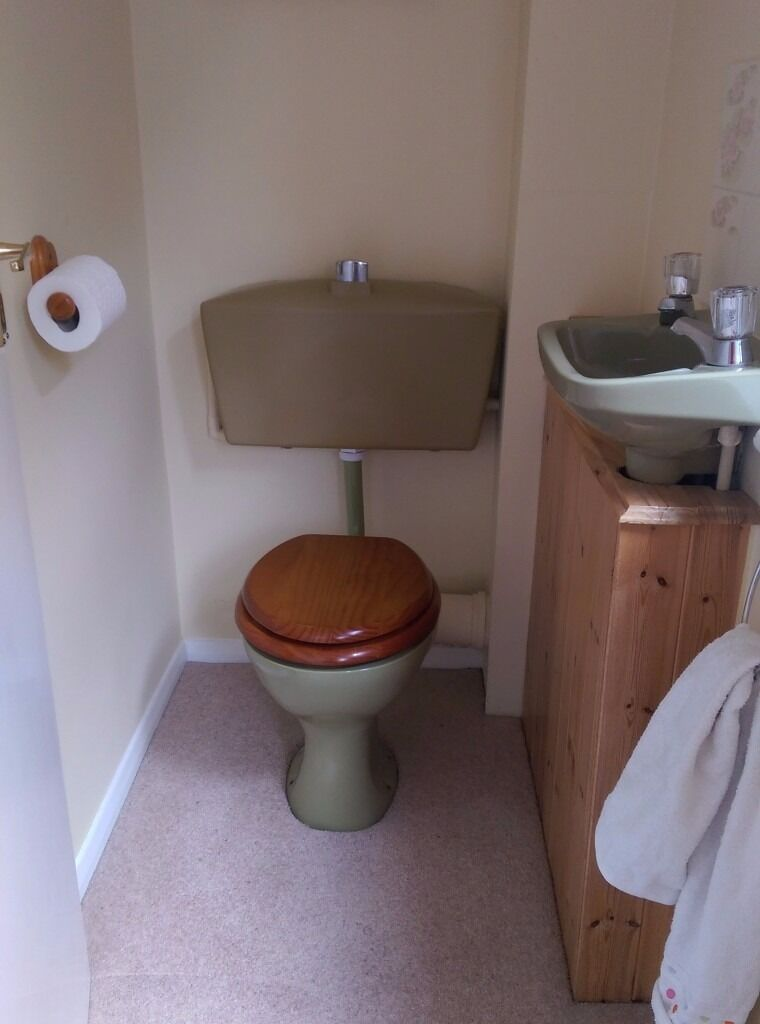 Cloakroom suite: toilet, cistern and wash hand basin in avocado ...