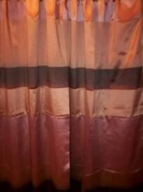NEW FULLY LINED, SLOT TOP CURTAINS, IN SHADES OF BROWN, SIZE IS 46 INCHES WIDE X 72 INCHES DROP
