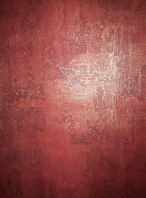 BRICK RED AND GOLD PERFECT FAUX PRE-PASTED WASHABLE WALLPAPER # TPF10246