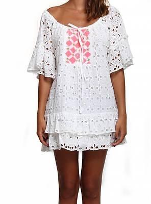 Sundress Romy Short Dress Tunic Cover Up White Pink Sz Xs