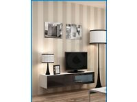 NEW IN BOX VIGO WALL MOUNTED TV UNIT WHITE/BLACK GLOSS 140cm