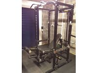 Powertec Workbench Power Rack, Bench, Lat Tower add on, and leg extension!