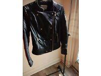 Zara black leather coat SIZE M