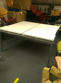 New 2 person office desks / 2 person office workstation in White wood effect