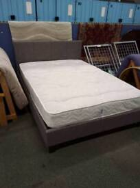 Grey fabric double bed frame and orthopaedic mattress