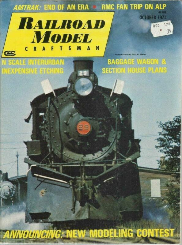 Railroad Model Craftsman October 1971 Baggage Wagon & EL Section House Plans