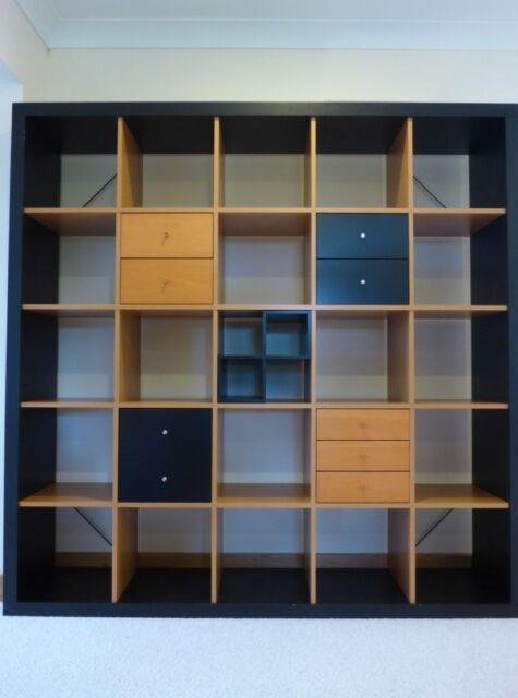 arrives a3f6f a117e IKEA EXPEDIT (KALLAX) 5x5 Cube Shelves - Black & Beech. Storage Unit  Shelving Display Drawers | in Cambridge, Cambridgeshire | Gumtree