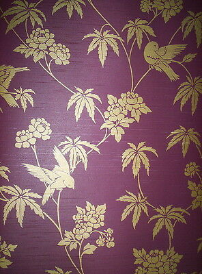 ORIENTAL INSPIRED FLORAL AND BIRD WALLPAPER # 282