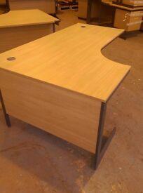 Large Oak effect left handed curved office desk 1800mm