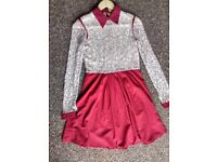 Collared Lace Red Dress