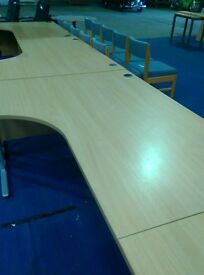 Curved office desks,,, straight office desks,,,various sizes and wood effects