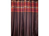 PAIR OF NEW FULLY LINED EYELET TOP CURTAINS IN BROWN SIZE 46 X 90 DROP
