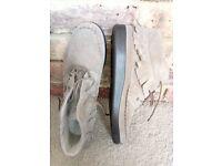 Hotter - Faith Ladies Stone grey Leather fringe ankle boots women UK 7.5