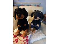 2 Large sitting soft toy Rottweilers