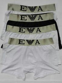 Mens Emporio Armani Boxers Trunks Underwear XL Black & White