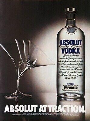 - 1984 ABSOLUT ATTRACTION Vodka Bending Glasses High Tech ART Vintage PRINT AD