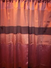 NEW FULLY LINED SLOT TOP CURTAINS, IN BROWN AND CARAMEL, SIZE 46 X 72 DROP