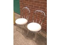 New Cafe / Bistro chairs in Fabric cream seat and Chrome frame