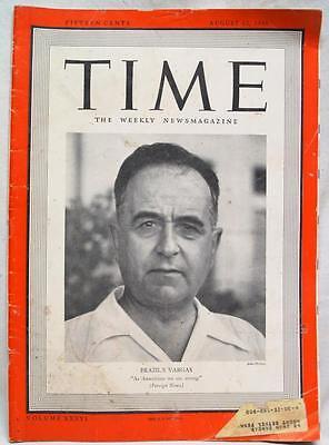 Time Magazine 12 August 1940 Wwii Vintage World War News   Brazils Vargas