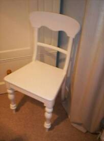 ANTIQUE VICTORIAN, WHITE PAINTED, PINE CHAIR, WITH HAND TURNED LEGS