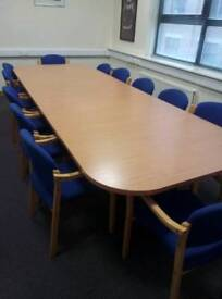 Boardroom table and x 12 chairs in excellent condition