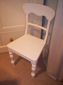ANTIQUE VICTORIAN WHITE PAINTED , PINE CHAIR, WITH HAND TURNED LEGS