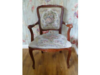 Mahogany Chair: Reproduction Antique with Tapestry: Louie XV Style