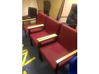 Red Reception chairs,, Waiting room office chairs, never been used, but a bit of fading in storage