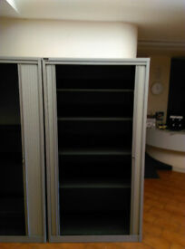 Tall Metal Tambour Storage Cupboard