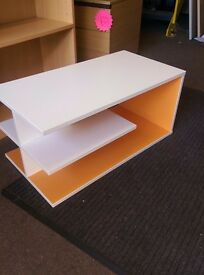 White and Orange wood effect office reception table / wood effect coffee table