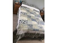 SASHI Double Linen Bedspread and Matching Pillow Cases Blue Patchwork Throw