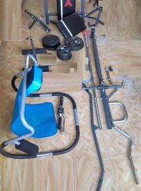 Home Gym(7in1)+All Attachments+Weights+Rods+Ab-Roller+Much More