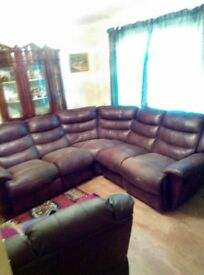 Brown Faux Leather corner recliner sofa