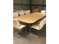 Large 2 piece office meeting table Oak effect 3.2M Large office Boardroom table