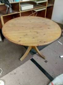 Round Pine Wood Table for Sale