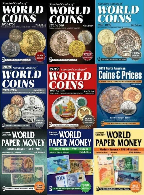 KRAUSE 2019 9 pcs Catalogs of World Coins & Paper Money 1601-2018 Digital Books