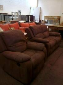 Suede reclining suite. Delivery available