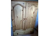 Strong, pine wardrobe - 130cm high 90cm w. Rail, extra shelf (screwed in) & drawer