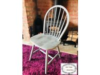 Unique Vintage Wooden Annie Sloan Grey Shabby Chic Chair